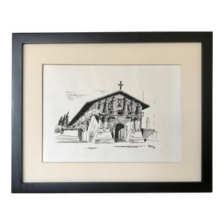 Vintage 1973 Pen and Ink Drawing of Mission Dolores San Francisco by P Lyon For Sale