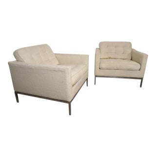 Mid-Century Upholstered Armchairs by Knoll Associates - a Pair