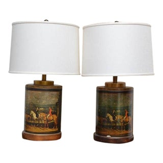 Frederick Cooper Equestrian Tea Canister Table Lamps - a Pair For Sale
