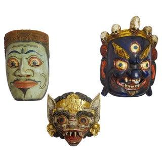 Vintage Hand-Carved & Painted Masks - Set of 3 For Sale