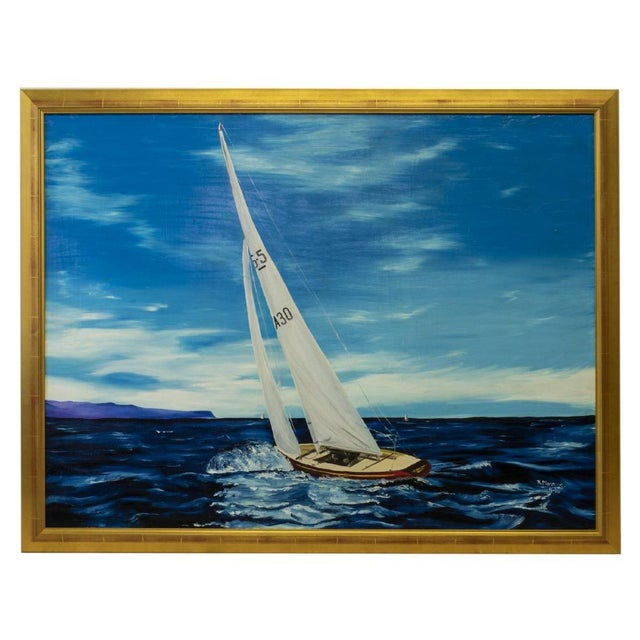 Americana Sailboat Large Framed Oil Painting, by R. Morrow For Sale - Image 11 of 11