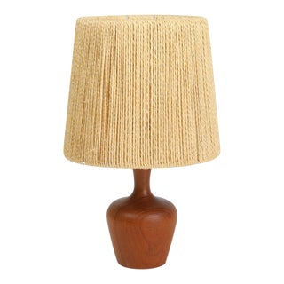 Fog and Mørup Teak and Jute Table Lamp For Sale