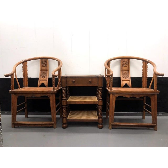 19th Century Large Chinese Ming-Style Horseshoe Back Chairs- A Pair For Sale - Image 9 of 13