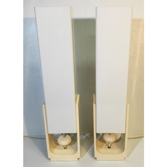 Mid-Century Acrylic Square Tube Table Lamps - A Pair - Image 6 of 6