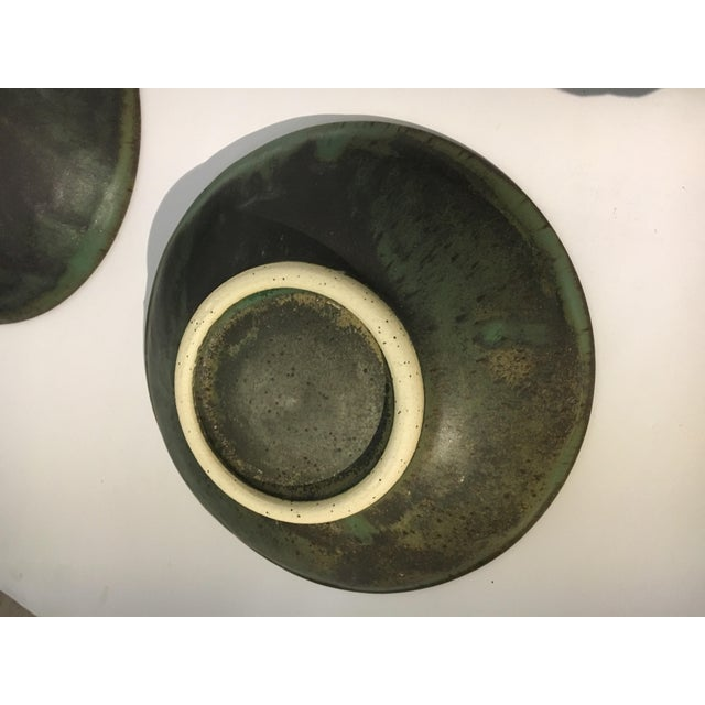 1980s Contemporary Handcrafted Green Ceramic Bowls - Set of 6 For Sale - Image 4 of 8