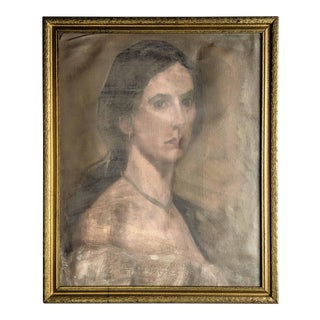 Antique Portrait of Woman on Canvas With Gold Frame For Sale