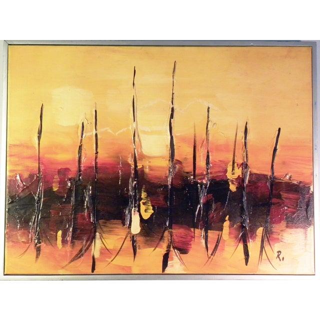 Mid-Century Modern Orange Abstract Painting - Image 5 of 7