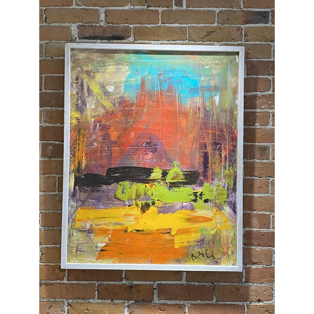 Late 20th Century Abstract Expressionist Oil Painting, Framed For Sale - Image 9 of 9
