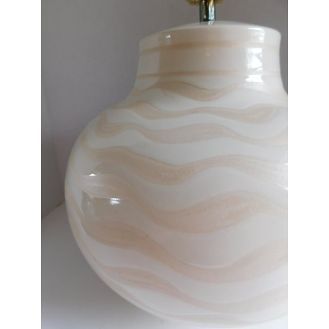 Metal Mid Century Ceramic Striped Table Lamp For Sale - Image 7 of 12