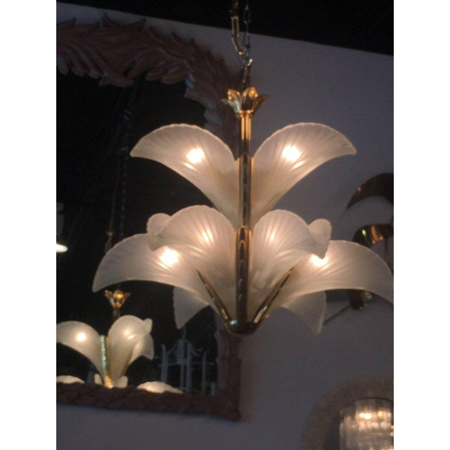 Italian Murano Glass & Brass Palm Tree Frond Leaf Chandelier - Image 7 of 12