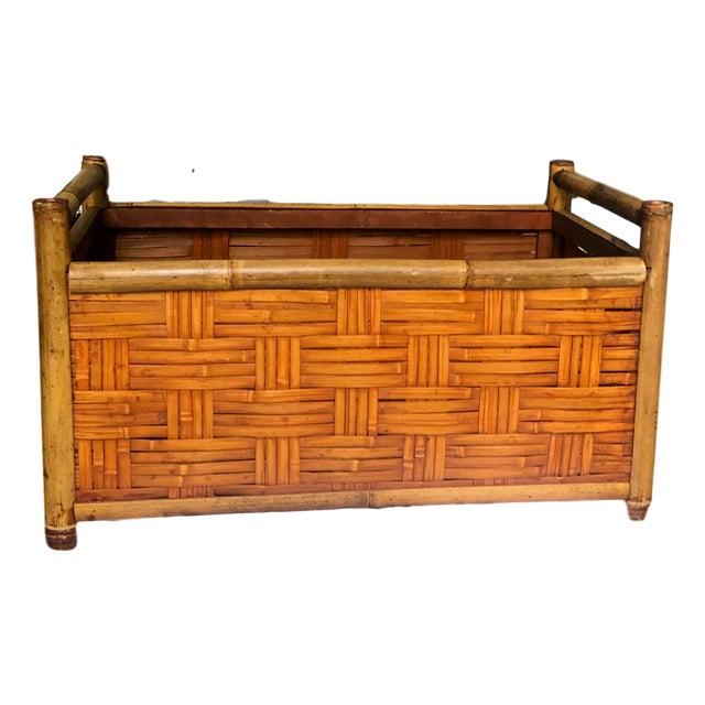 Vintage Handmade Woven Reed Cane & Rattan Basket For Sale - Image 10 of 10