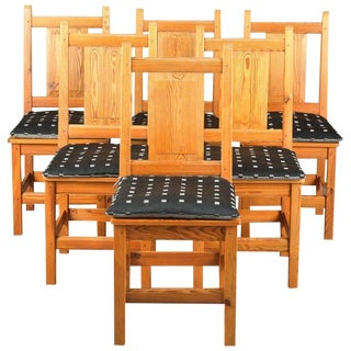 Set of Six Modern Danish Rustic Danish Chairs in Solid Knotty Pine For Sale