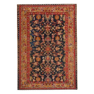 Antique Sivas Red Blue and Gold Silk Rug With Pastel Accents - 4′1″ × 5′8″ For Sale