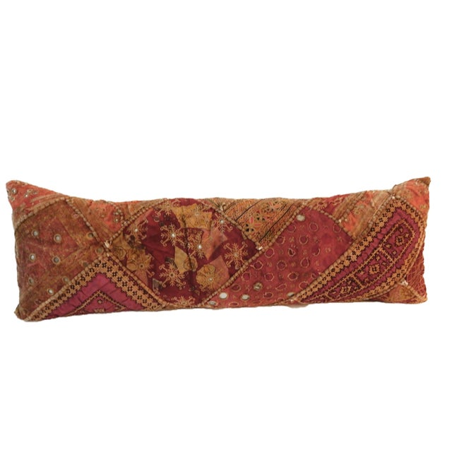 Boho Chic Indian Custom Made Patchwork Long Pillow For Sale - Image 3 of 8