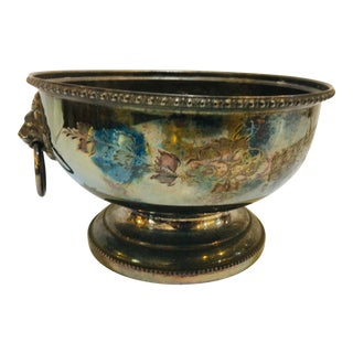Vintage English Hand Engraved Silverplate Bowl For Sale