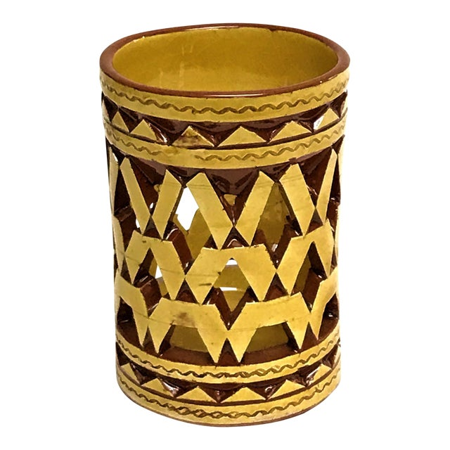 Moroccan Hand Painted Ceramic Tealight Cup Holder For Sale
