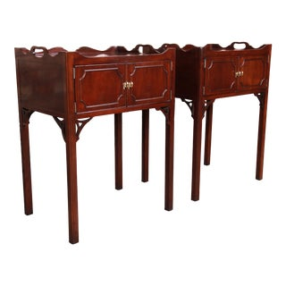 Councill Chippendale Carved Mahogany Nightstands, Pair For Sale