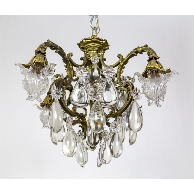 Bronze Belle Epoch Glass Flower and Smooth Almond Crystal Chandelier For Sale In San Francisco - Image 6 of 11
