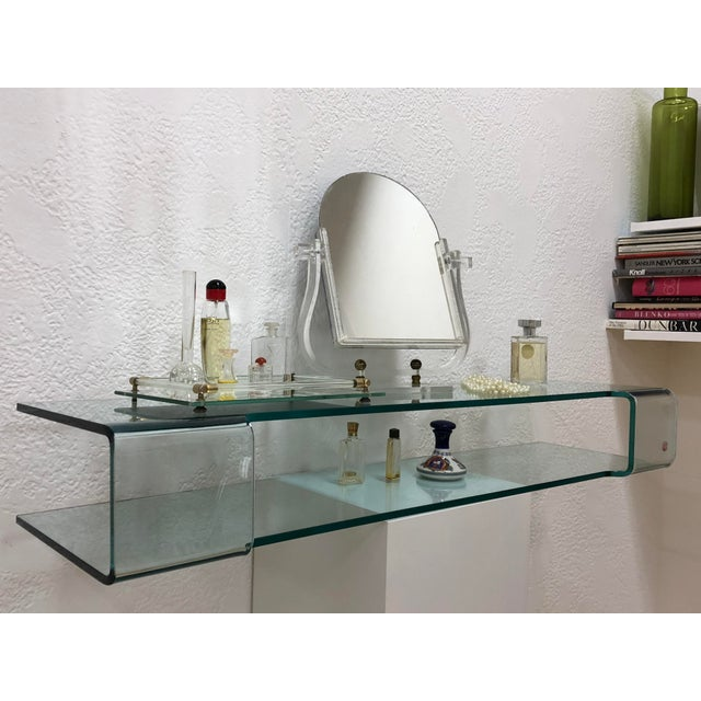 Transparent Calligaris Italian Glass Floating Vanity or Shelf For Sale - Image 8 of 12
