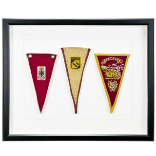 Three Framed European Souvenir Pennants