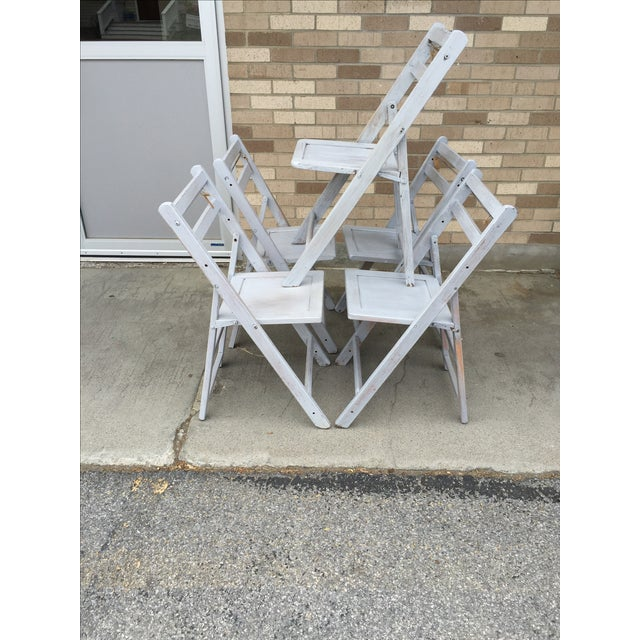 French Grey Folding Chairs - Set of 5 - Image 3 of 5