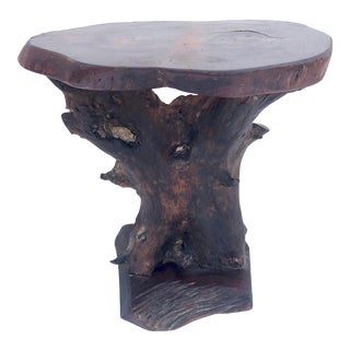 Vintage Primitive Live Edge Pedestal Table For Sale