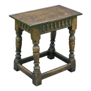 19th C. English Oak Joint Stool For Sale