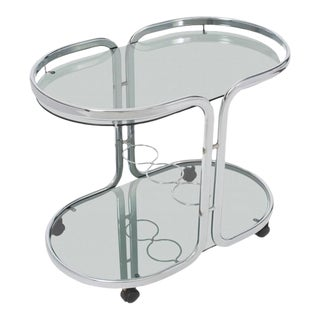 French Vintage Polished Chrome Bar Cart For Sale
