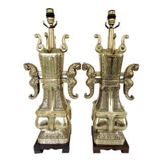 Impressive James Mont Style Brass Table Lamps - a Pair