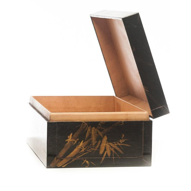 "Contemporary Lawrence & Scott Black Meridian Leather Box (16.5"") For Sale - Image 3 of 5"