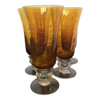 Hollywood Regency Amber Bubble Glass Goblets - Set of 5 For Sale
