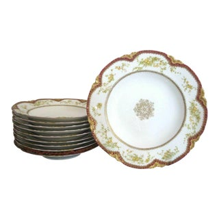 France Haviland Limoges Red Gold Gilt Hand Painted Flower Bowl Set - 10 Pieces For Sale