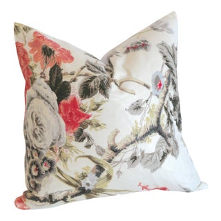 Schumacher Elizabeth Pillow Cover 16x16 Rouge: Discontinued Schumacher Fabric For Sale