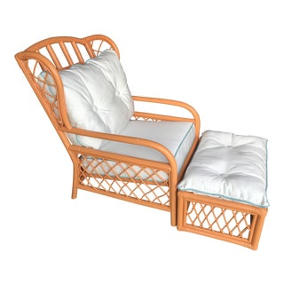 Vintage Ficks Reed Rattan Orange and White Chair and Ottoman For Sale