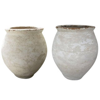 Italian White Terracotta Vessels - a Pair For Sale