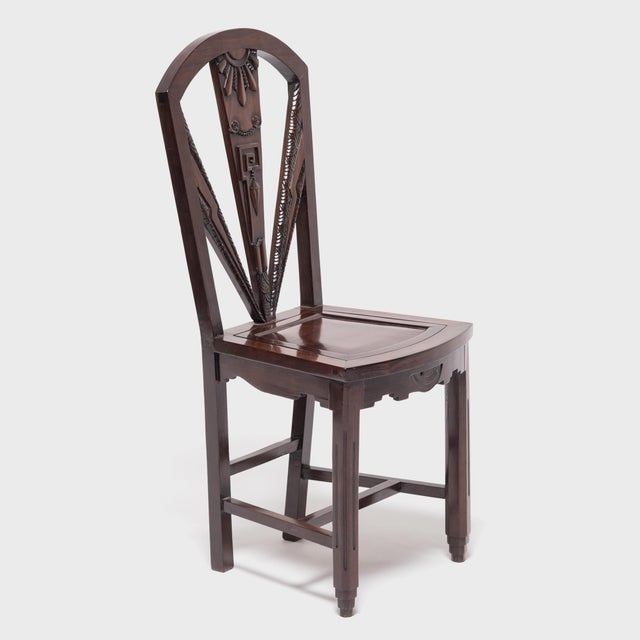 Wood Chinese Art Nouveau Side Chair For Sale - Image 7 of 9