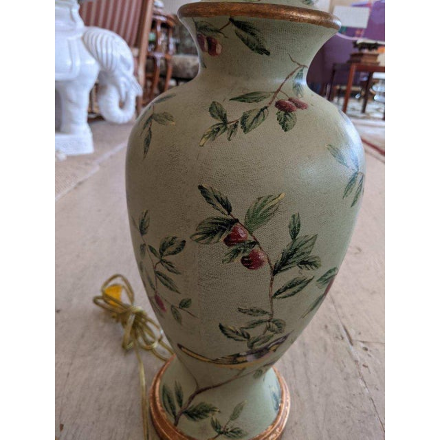 Bradburn Celadon Green Table Lamps With Birds and Foliage - a Pair For Sale - Image 4 of 13