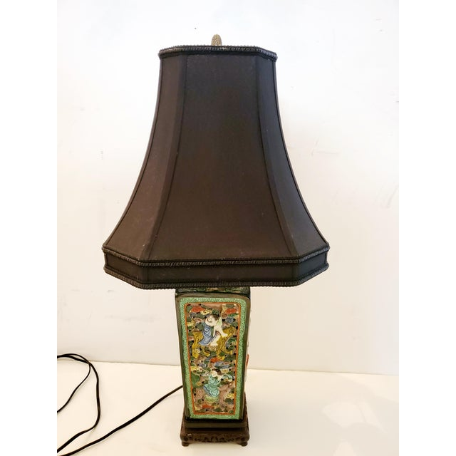Green Figural Asian Table Lamp For Sale - Image 8 of 8