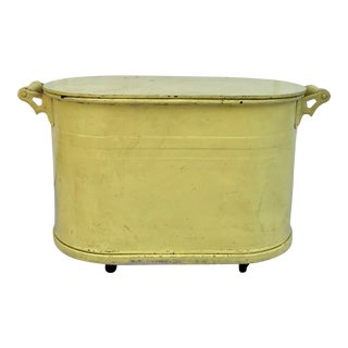 Vintage Yellow Metal Rolling Lidded Tub For Sale