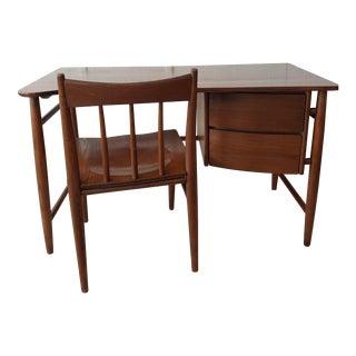Vintage Mid-Century Modern Danish Modern Solid Wood Boomerang Desk & Chair Set For Sale