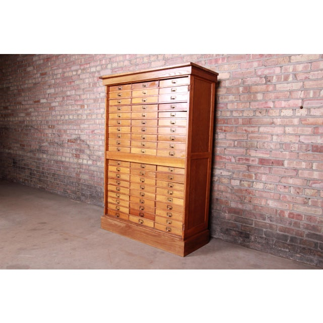 Rustic Antique Oak 57-Drawer Cabinet, Circa 1920s For Sale - Image 3 of 13