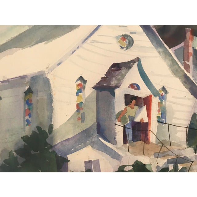 Traditional 1980s Geers Cityscape With Church Painting For Sale - Image 3 of 6