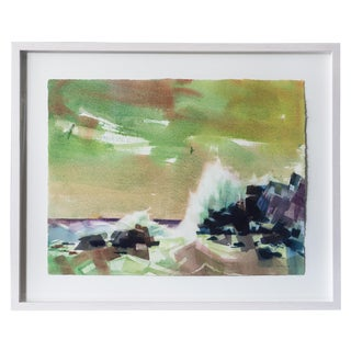 Mid-Century Rocky Coast Watercolor Painting