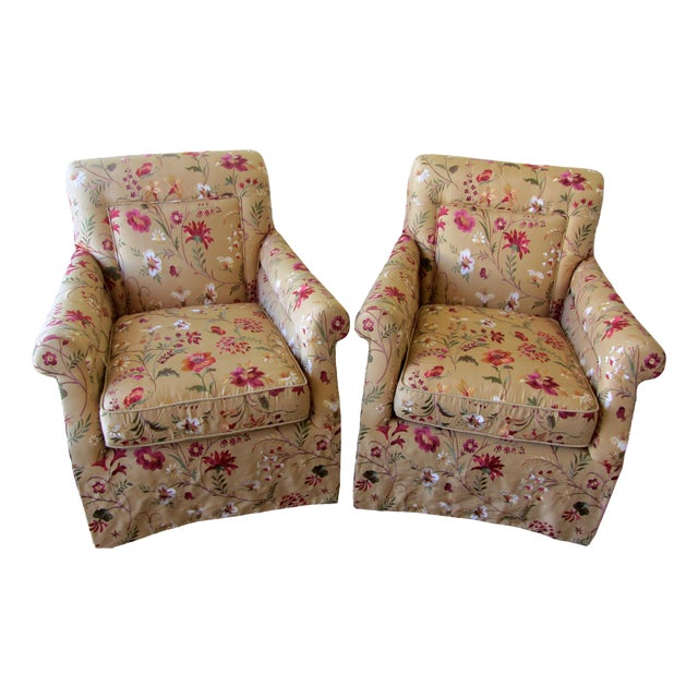 Silk Embroidered March Rocker Swivel Glider Chairs - a Pair - Image 1 of 8