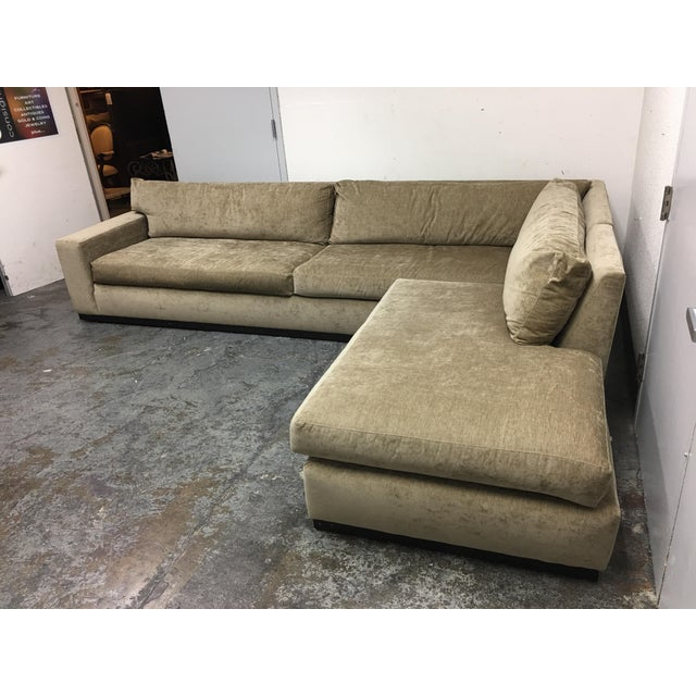 Cisco Furniture Green Velvet Two Piece Sectional For Sale - Image 5 of 11