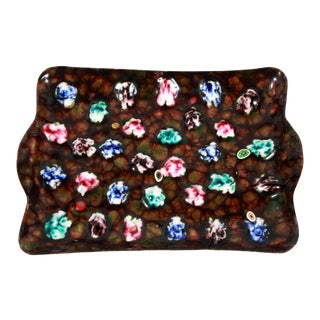 Vintage Mid Century Modern Enamel on Copper Millefiori Tray For Sale