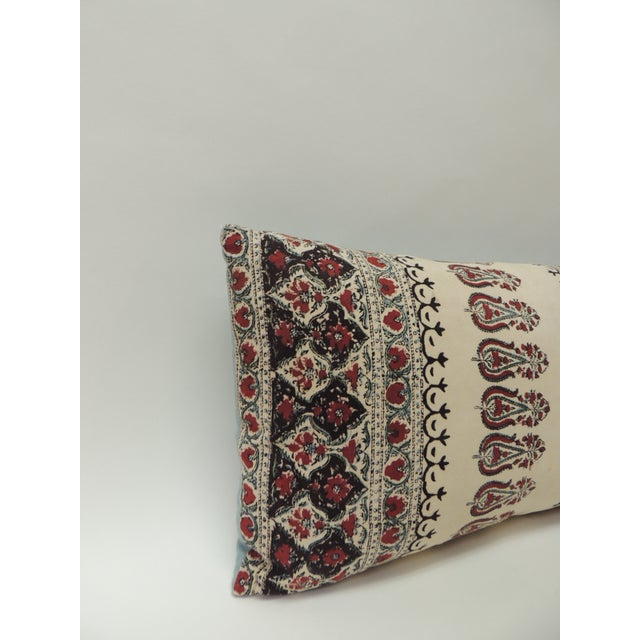Textile fragment in the front of the decorative pillow motif is a tree of life; decorative bolster pillow was finished...
