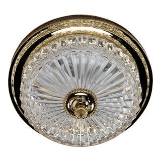 French Fluted Crystal and Brass Flush Mounted Fixture For Sale