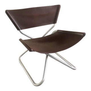 "Mid Century Modern Leather ""z Down"" Chair Designed by Erik Magnussen For Sale"