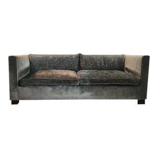 Tuxedo Style Two-Tone Velvet Upholstered Sofa - Custom by Saks and Santangelo For Sale